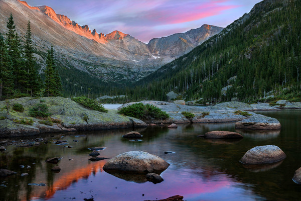 Colorado sunset from Mills Lake and Glacier Gorge/ Rocky Mountain National Park fine art scenic landscape photography decor prints by Tom Schoeller