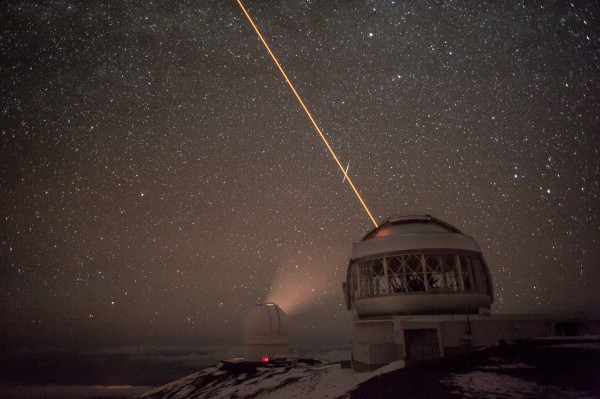 "The Gemini and Canada-France observatories ""working"" on Mauna Kea on the Big Island of Hawaii"
