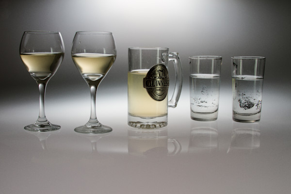A Fine Art Photograph of Romantic Drinking Glasses With Reflections by Michael Pucciarelli