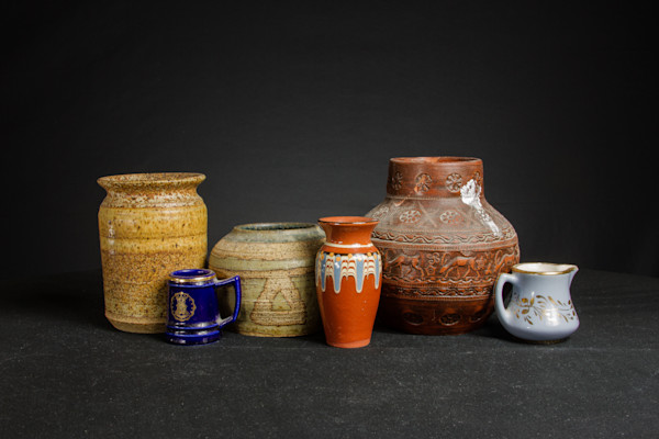Fine Art Photographs of Vases and Mugs with Ornaments by Michael Pucciarelli