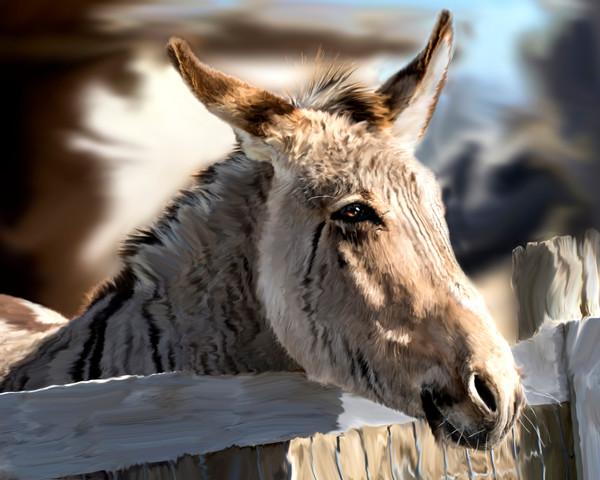 digital art painting of a donkey, zebra hybrid