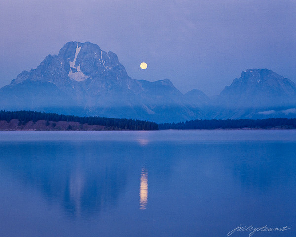 Moon Setting Over Mount Moran