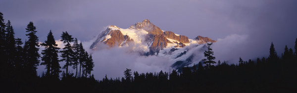 Fine art print of storm clouds lifting from around Mt. Shuksan