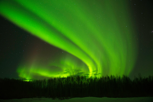 Fine art print of the Northern Lights in the night sky of Alaska