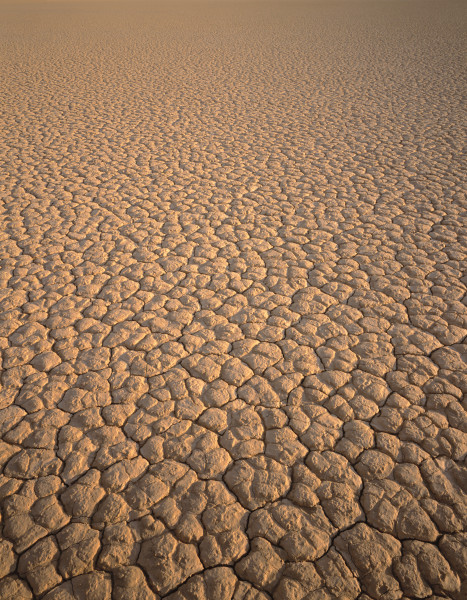 Cracked playa surface on a dry lake bed in Death Valley