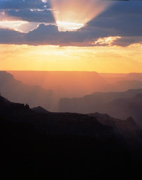 Sun burst at Grand Canyon