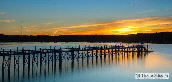 Stunning sunset glow from Sheepscot Bay in Wiscasset Maine