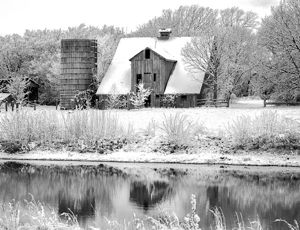 Easter Snow Reflections - bw