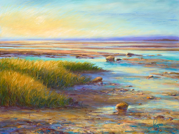 September Chase | Sunset Beach Painting with Tide Pools