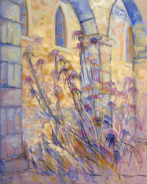 Reaching | Blue and Cream French Architectural Painting