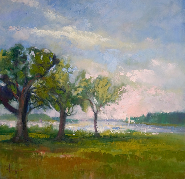 Three Sisters | Coastal Landscape Painting with 3 Trees