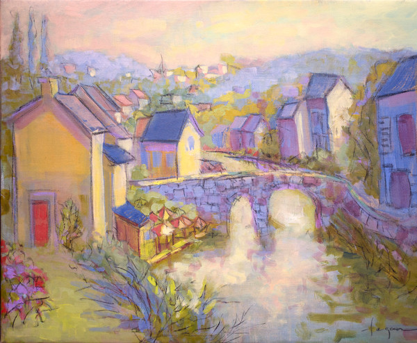 Bridge in Time | French Village Painting with Bridge