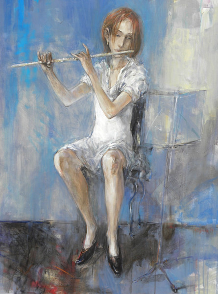 Acrylic painting of a young woman musician playing the flute.