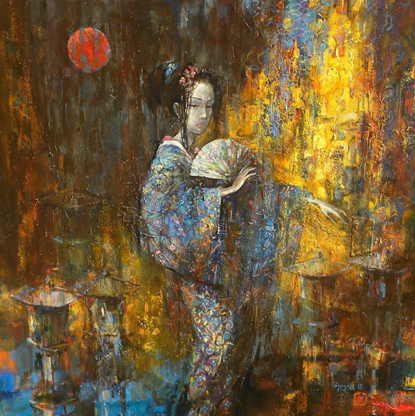 Colorful, textured oil painting of a Japanese geisha girl holding a fan