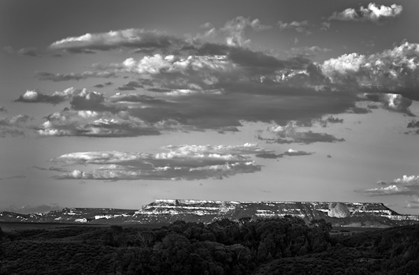 Ranch Land Mesa Sunset - BW