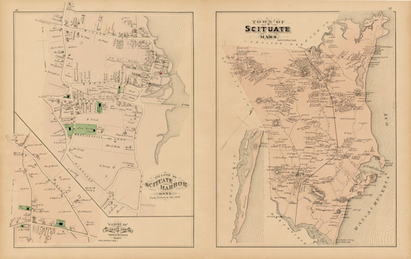 Scituate Town Map with Harbor Detail