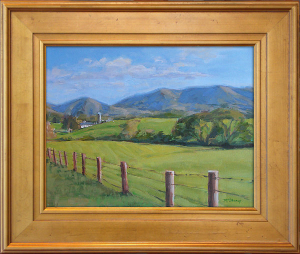 Acrylic painting of a North Carolina rural landscape in the Blue Ridge Mountains.