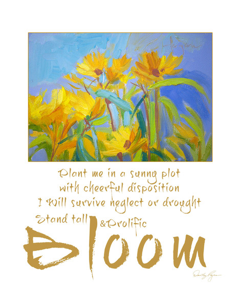 Stand Tall Prolific & Bloom | White & Gold Inspirational Garden Print