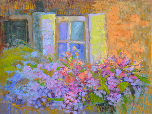 Blooming Sisters | Hydrangea Window Garden Painting