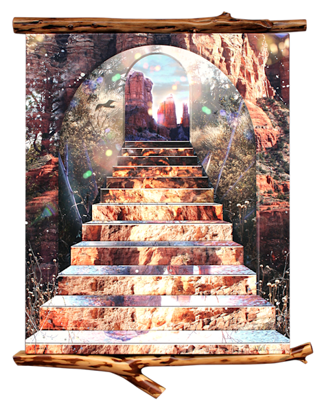 Original artwork digital collage with overpainting shows a staircase to a fantasy world.