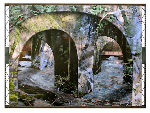 Digital collage with natural and architectural elements transports you to a fantasy world.