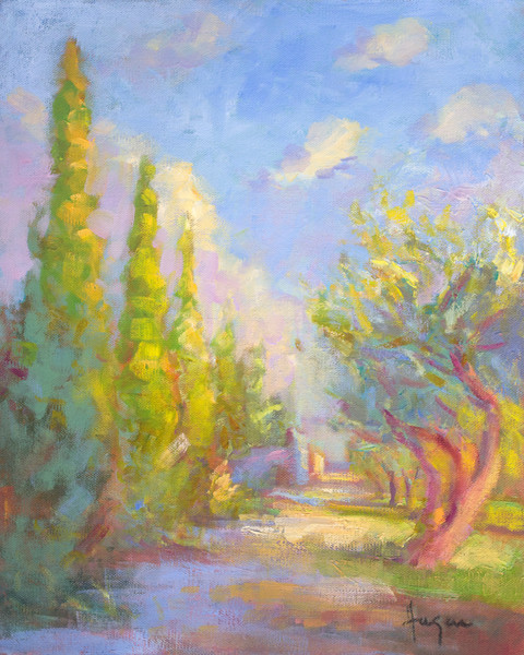 Garden of Tarascpn | Garden Painting with Cypress Trees