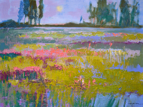Rite of Spring | Abstract Landscape Oil Painting with Moon