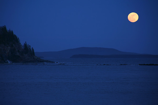 Acadia National Park, Full Moon, Seascape, Maine