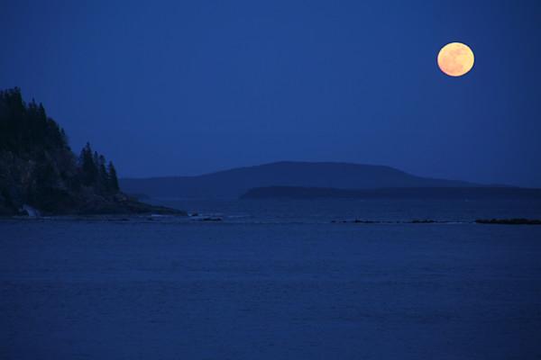 Acadia National Park, Full Moon, Seascape, Maine