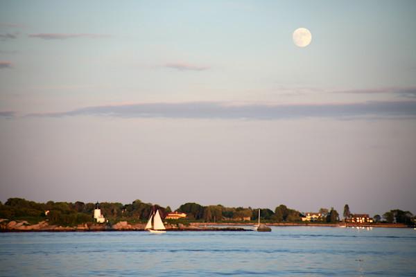 Lighthouse, Ten Pound Island, Gloucester, Full Moon
