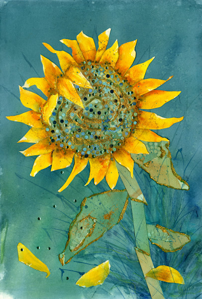 Sunflower giclee print artwork in yellow and teal