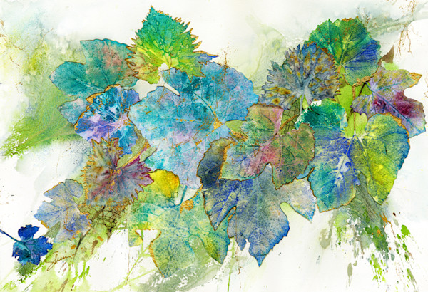 Gorgeous leaf collage artwork with blues and greens makes a statement piece.
