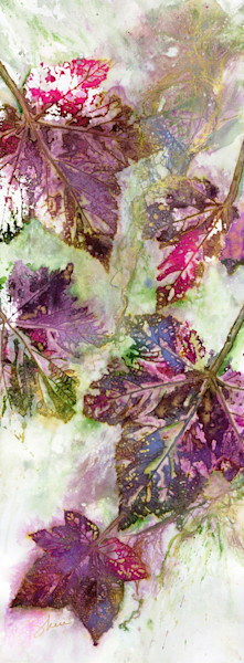 Soft jewel tone watercolor colors in a botanical leaf collage by artist Sheri Trepina.
