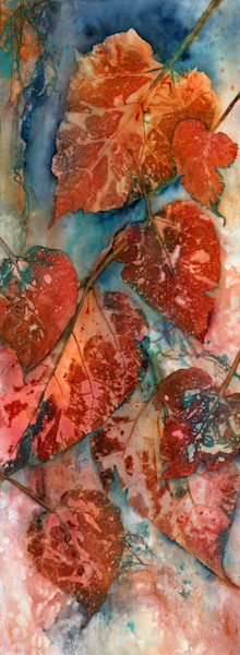 Bold botanical leaf collage and watercolor artwork by Sheri Trepina