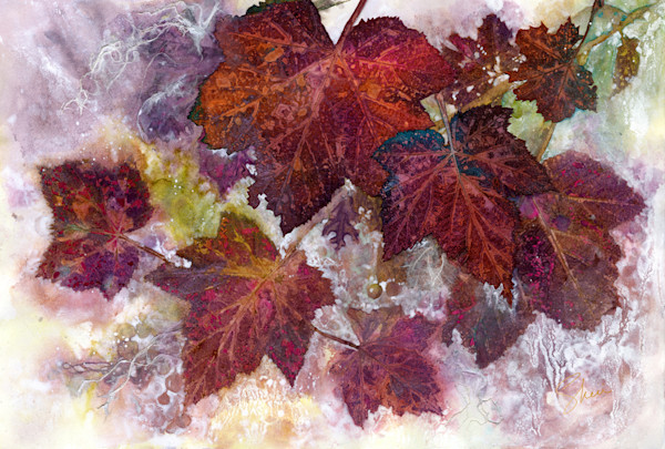 Concord grape leaf and watercolor collage capture the essence of fall