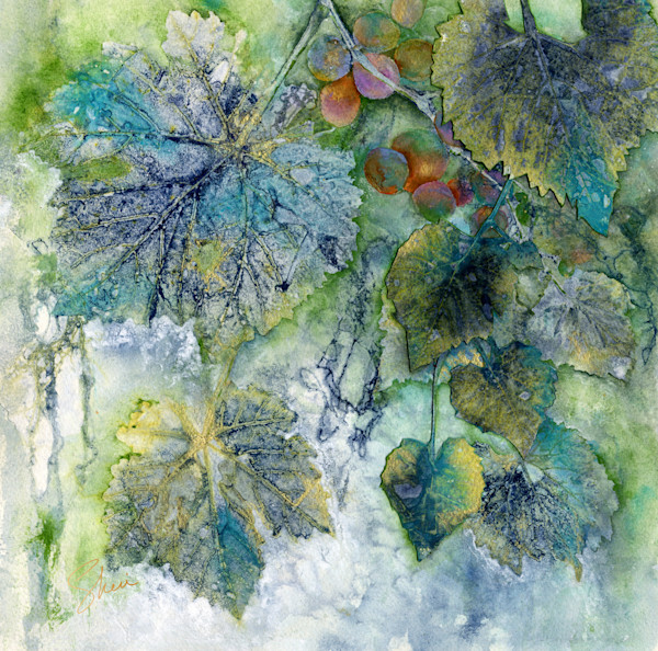 Gorgeous blues and greens with a soft watercolor background make this delightful botanical collage a focal point in any room.