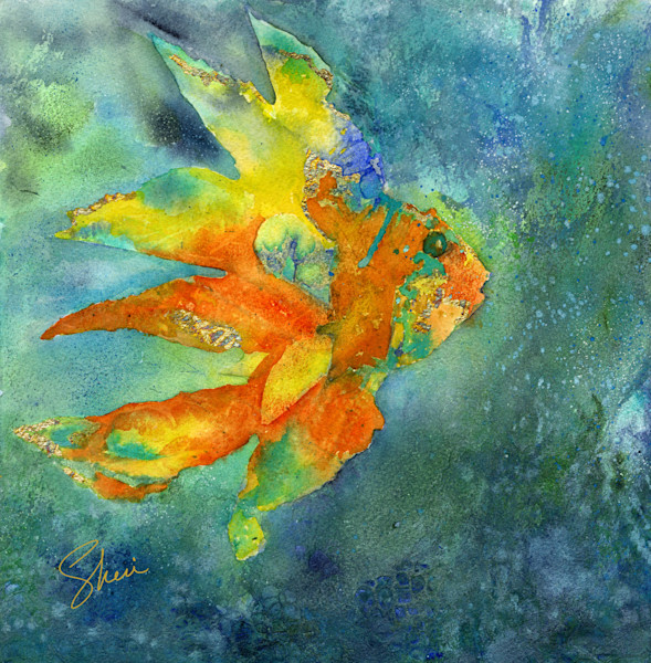 Colorful tropical fish watercolor giclee print with gold accents