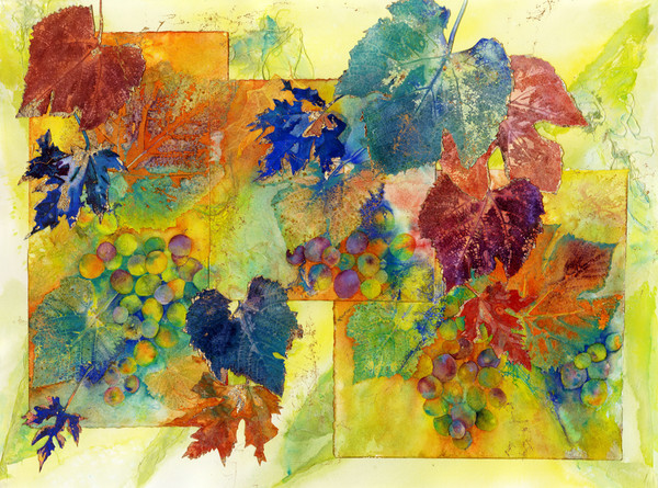 Multi-layered botanical grape and leaf collage in bright colors