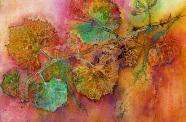 Botanical collage print of grapes and leaves glows with fiery color