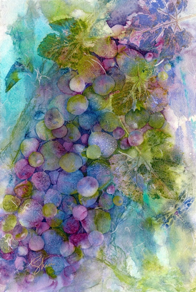 Gorgeous blues and purples in this watercolor collage print with grapevines and dragonfly