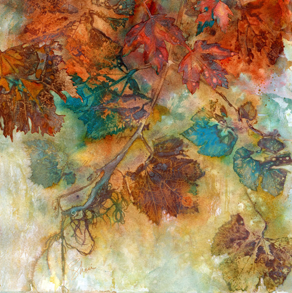 Gorgeous earth colors and turquoise make this grapevine watercolor collage pop