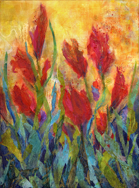 Tulip Dance is a hand-embellished giclee of an original paper collage artwork.