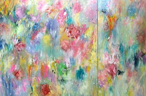 Diptych of abstract spring floral paintings in bright colors by artist Judy Jacobs are in acrylic paint on canvas.