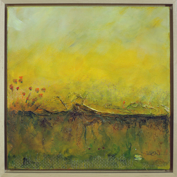 Abstracted landscape in acrylic and mixed-media has plenty of texture and atmosphere