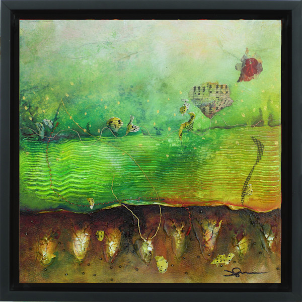 Acrylic and mixed media landscape joyously celebrates the Spring season with verdant greens and growing plants.