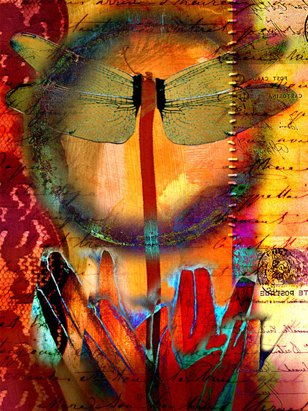 Stunning for its fiery color and glowing imagery, this mixed media digital collage art celebrates transformation.