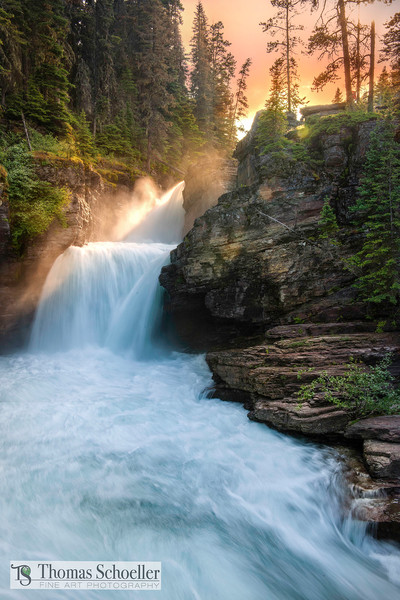 Heavenly Mist - St Mary Falls at Sunset | Waterfall Prints