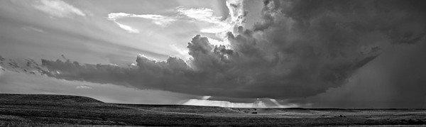 Storm Over the Ridge, Kansas Flint Hills - bw