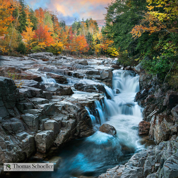 New Hampshire scenic landscape/ Waterfall fine art prints/Swift River tumbles through Rocky Gorge and amazing White Mountain autumn foliage