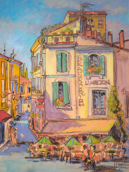L-Aficion | French Cafe Street Scene Watercolor Painting